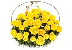 Изделие корзина овальная (цветы в жёлто бежевых  тонах) РК05505