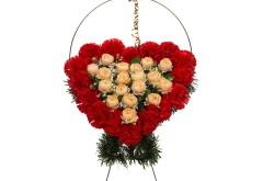 Изделие корзина в форме сердца (в центре оранжевые цветы) РК05503