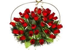Изделие корзина овальная (розы красные с чёрным ободком) РК05505