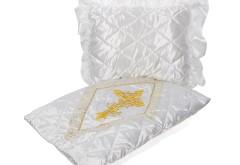 Комплект в гроб Ромб с крестом (белый с золотом) 3432