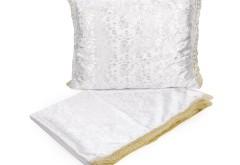 Комплект в гроб Цветы Жаккард (белый с золотом) 3389