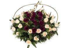 Изделие корзина овальная (сочетание роз двух цветов) РК05505