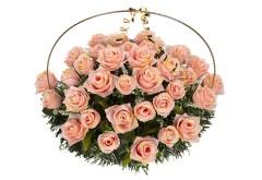 Изделие корзина овальная (цветы в красно розовых тонах) РК05505